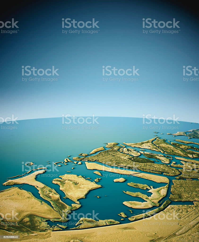Abu Dhabi 3D View South-North Natural Color stock photo