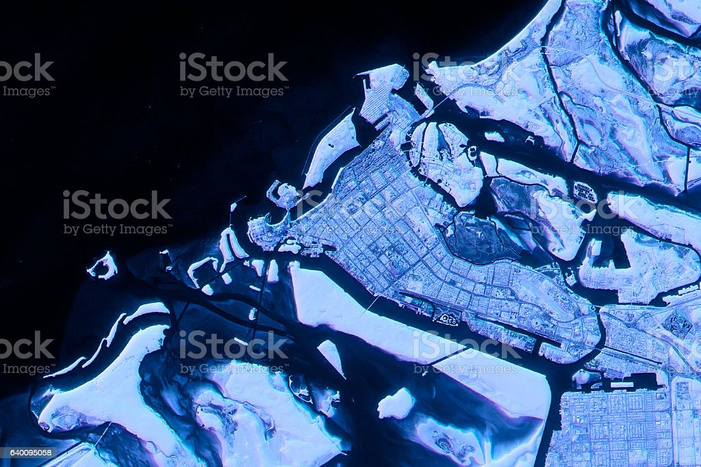 Abu Dhabi Abstract City Map Satellite Image Blue Detail stock photo