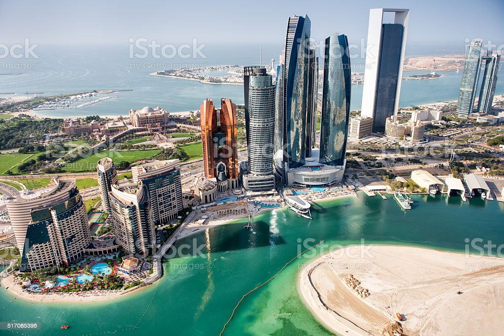 Abu Dhabi aerial view stock photo