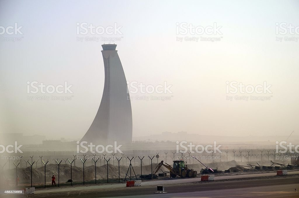 Abu Dhabi airport control tower stock photo