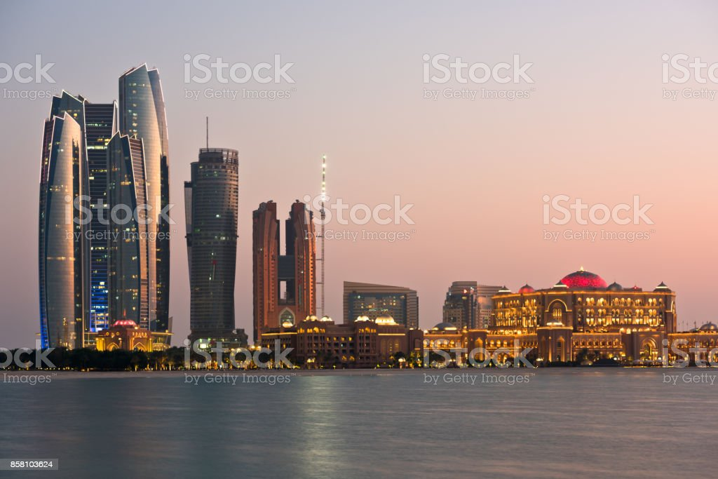 Abu Dhabi buildings skyline from the sea stock photo