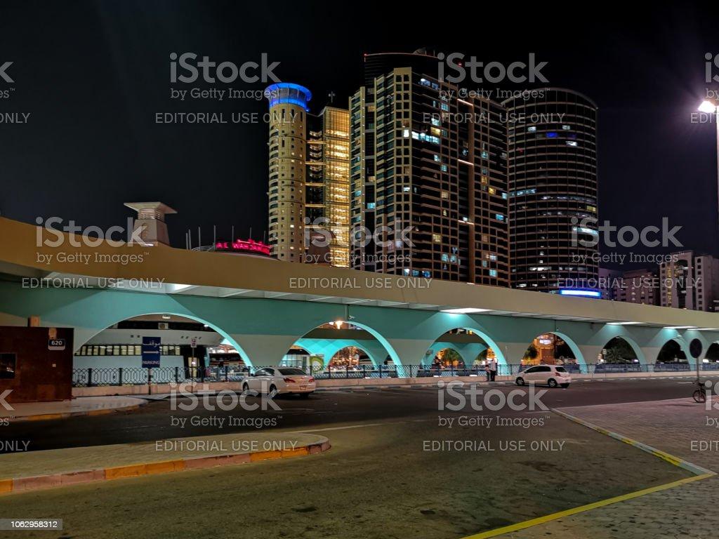 Abu Dhabi City Bus Station At Night Al Wahda Mall Stock Photo & More