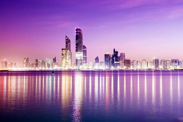 abu dhabi city skyline united arab emirates - abu dhabi stok fotoğraflar ve resimler