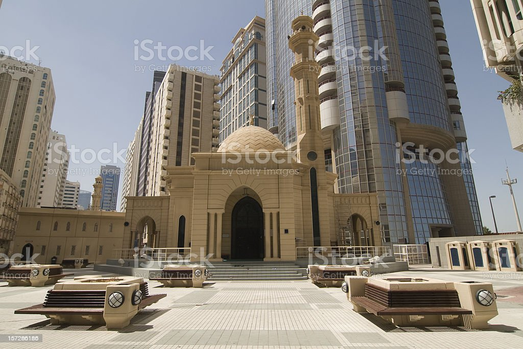 Abu Dhabi mosque and modern architecture royalty-free stock photo