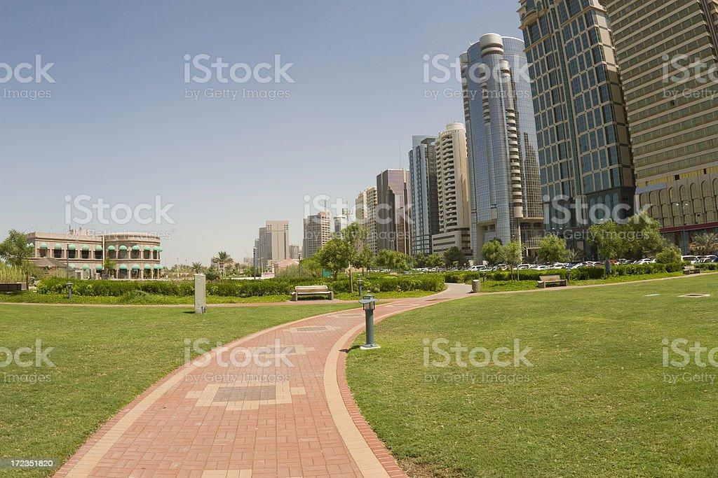 Abu Dhabi path on corniche park royalty-free stock photo