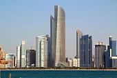Abu Dhabi Skyline with water and clear sky
