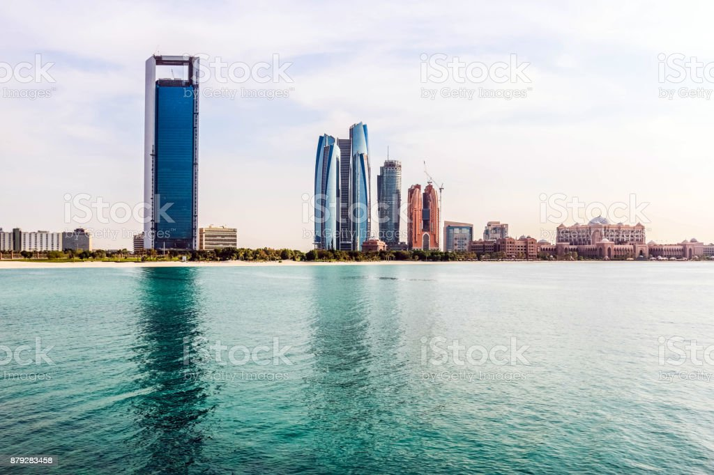 Abu Dhabi Skyscrapers and Skyline at Corniche, United Arab Emirates stock photo