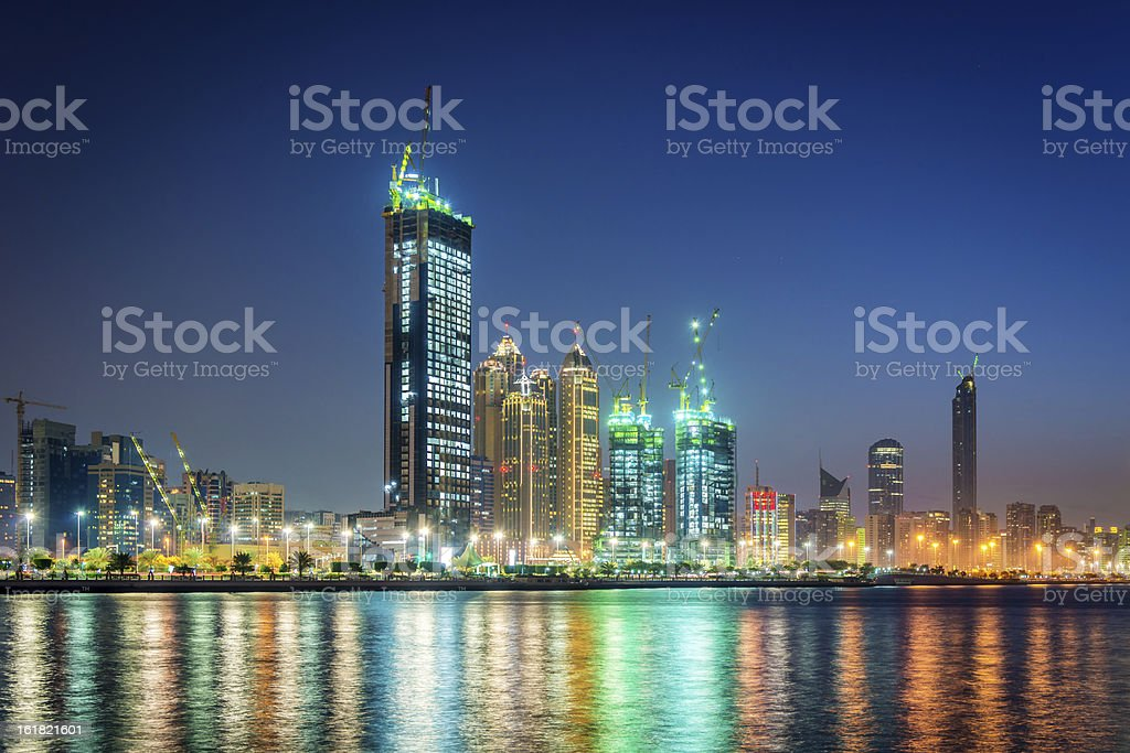 Abu Dhabi Skyscrapers at Night royalty-free stock photo