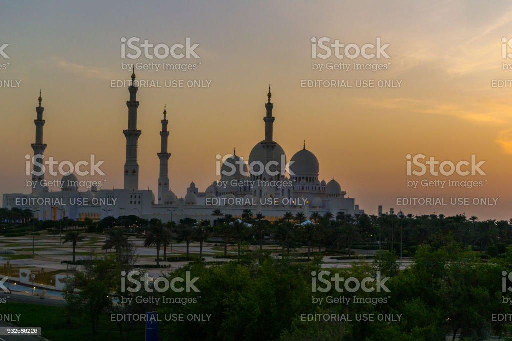 Abu Dhabi/UAE- 13 Nov 2017: View of Sheikh Zayed Mosque in UAE stock photo