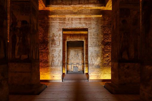 Abu Simbel - inside Ramesses II, statues of divinities in sanctuary