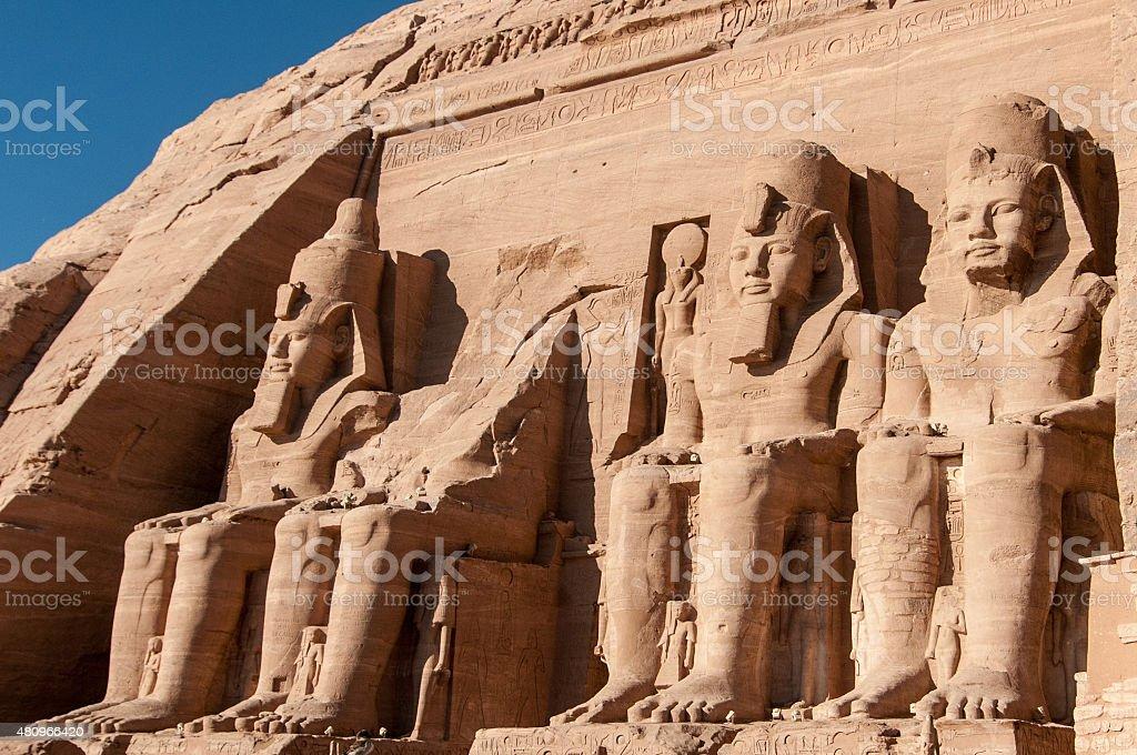 Abu Simbel on the border of Egypt and Sudan stock photo