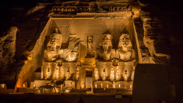 Abu Simbel temple at night, Egypt stock photo