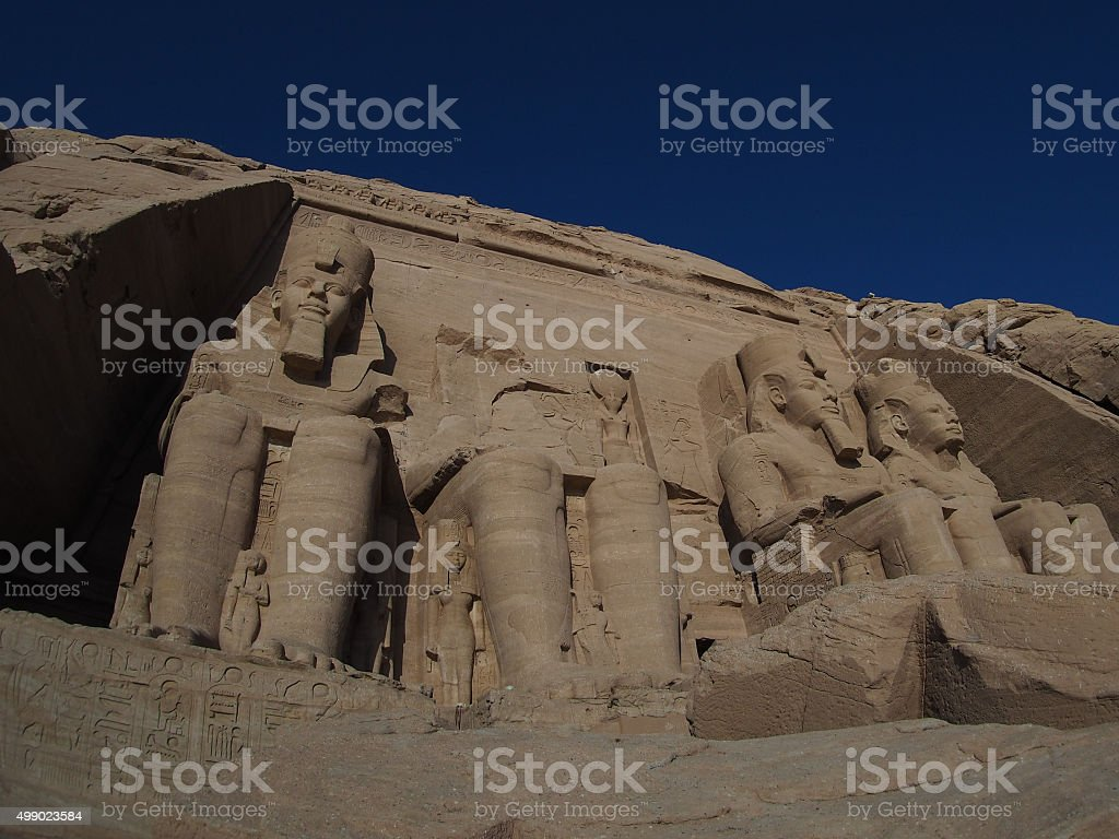 Abu Simbel temple in the Nile valley of Egypt stock photo