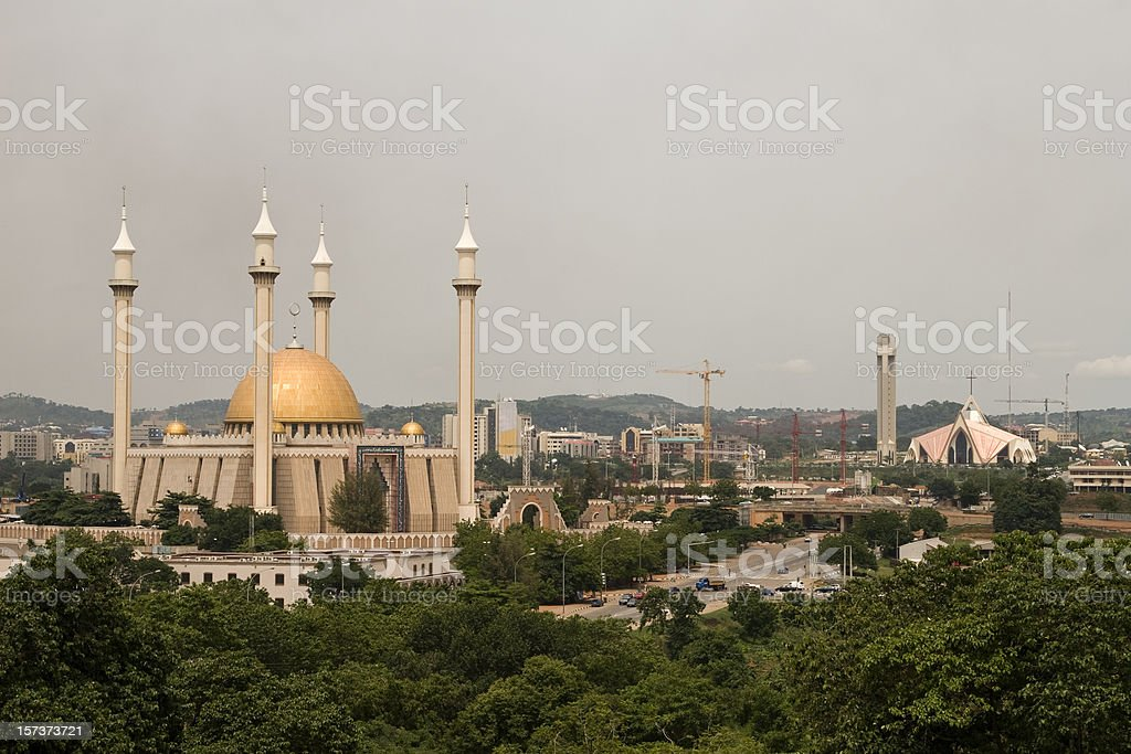 Abuja city of mixed religion stock photo
