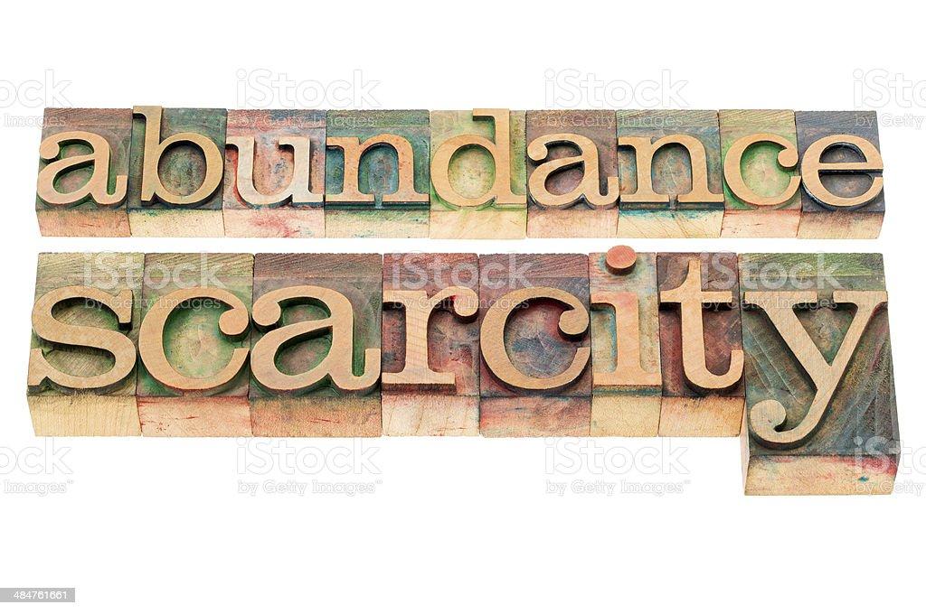 abundance and scarcity stock photo