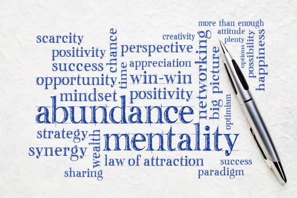 abundance mentality word cloud abundance mentality word cloud on a textured lokta paper wit a pen abundance stock pictures, royalty-free photos & images