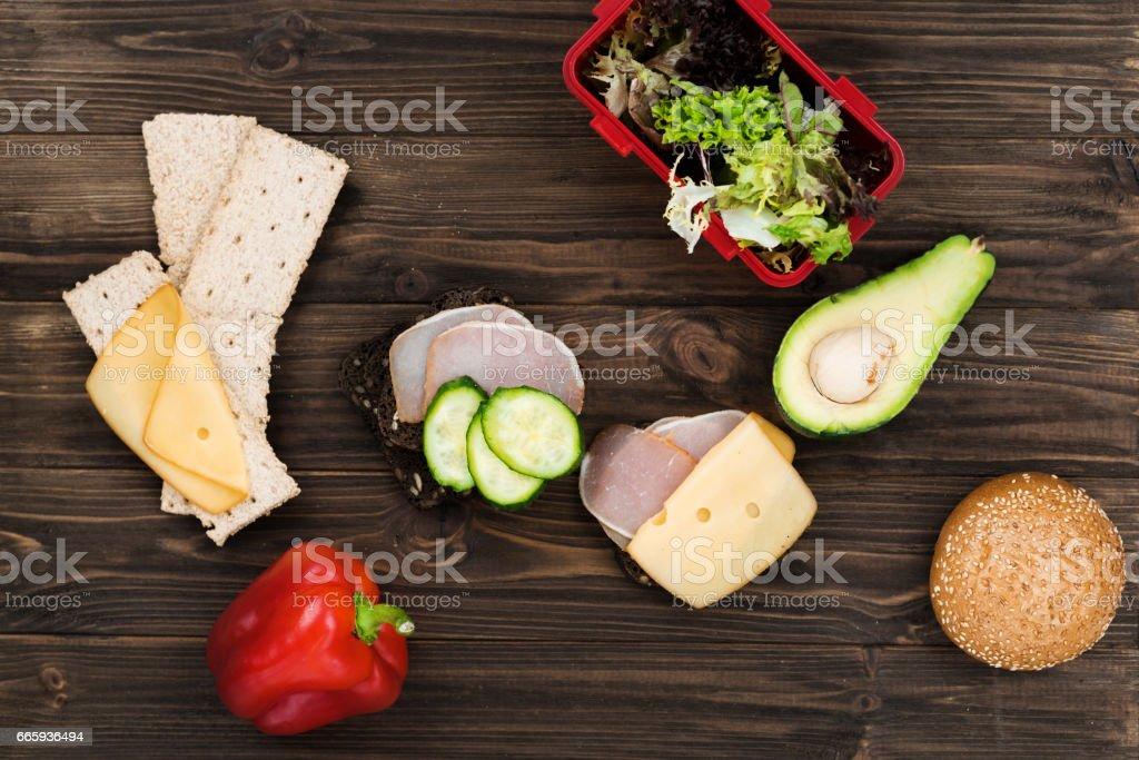 Abundance of food lying on the wooden desk foto stock royalty-free