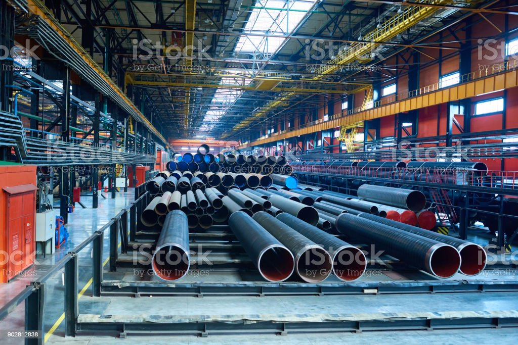 Abundance of pipes at factory stock photo