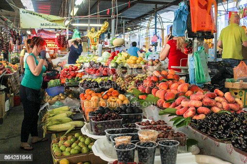 Abundance On The Market Counters Stock Photo & More Pictures of Agriculture