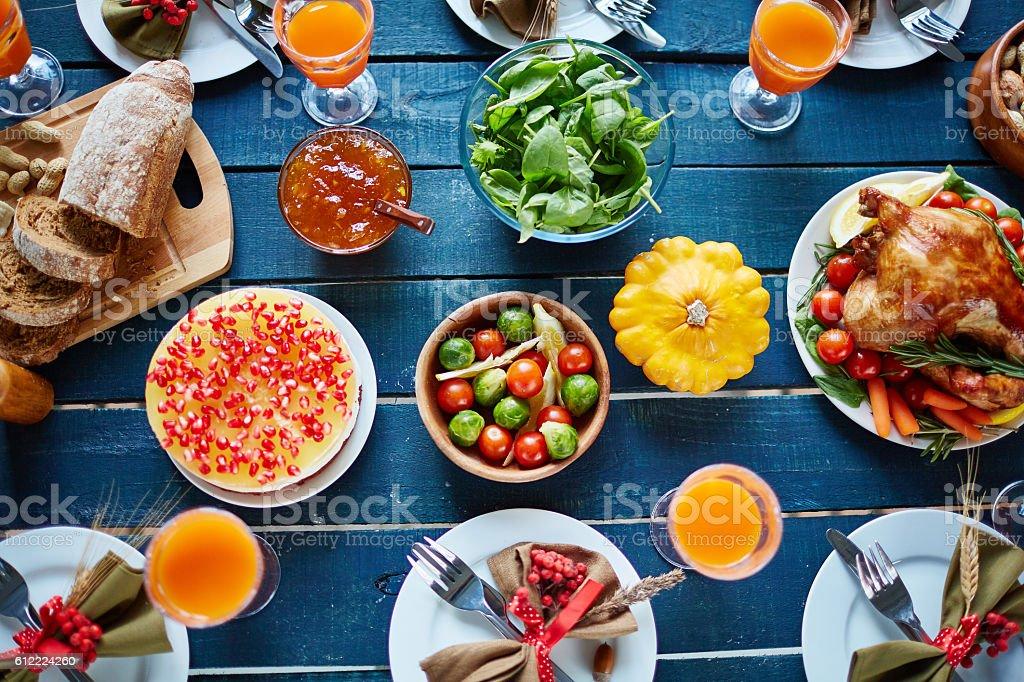 Abundant Thanksgiving table stock photo