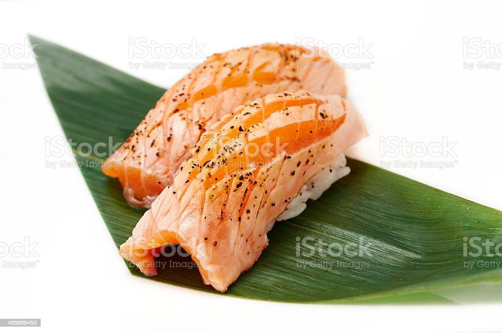 Aburi Salmon Nigiri stock photo