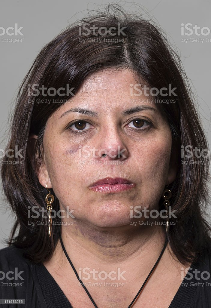 Abused Hispanic Woman stock photo