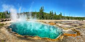 Geothermal features of vivid colors, in Yellowstone National Park, Wyoming