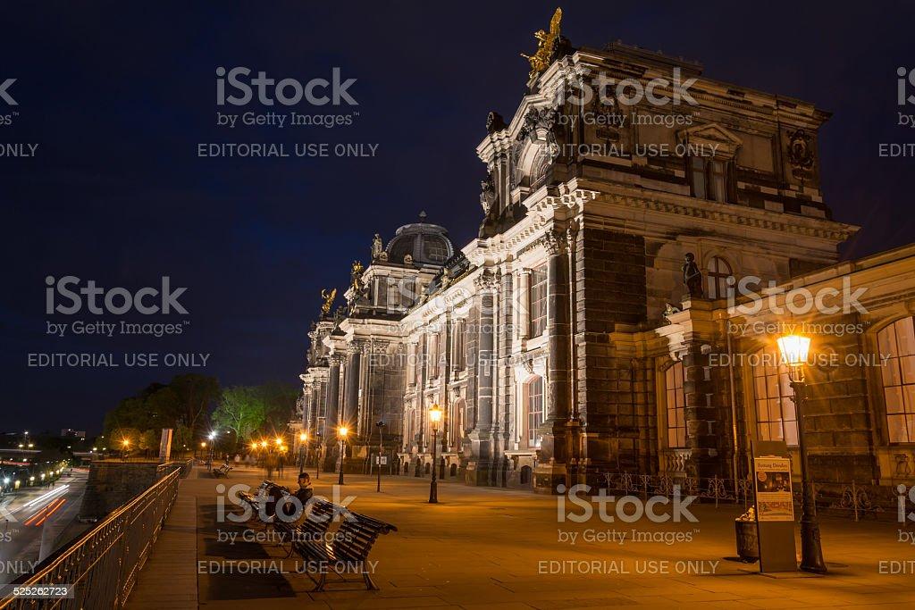 academie of art at Brühlsche Terrasse in Dresden at night stock photo