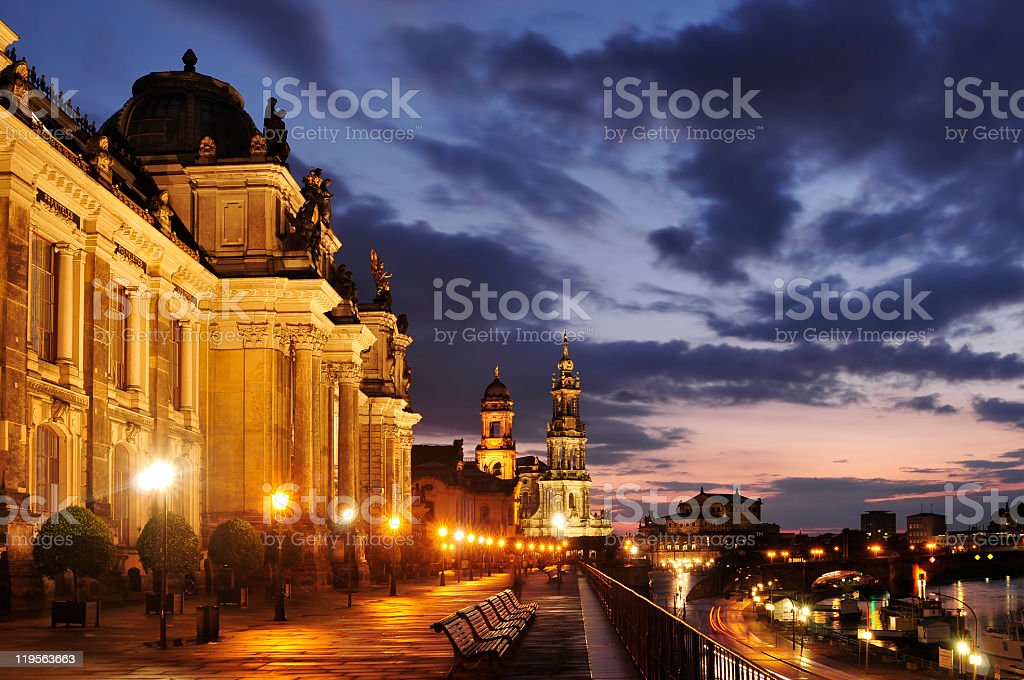 Academy of Art on the Bruehl's Terrace in Dresden, Germany stock photo