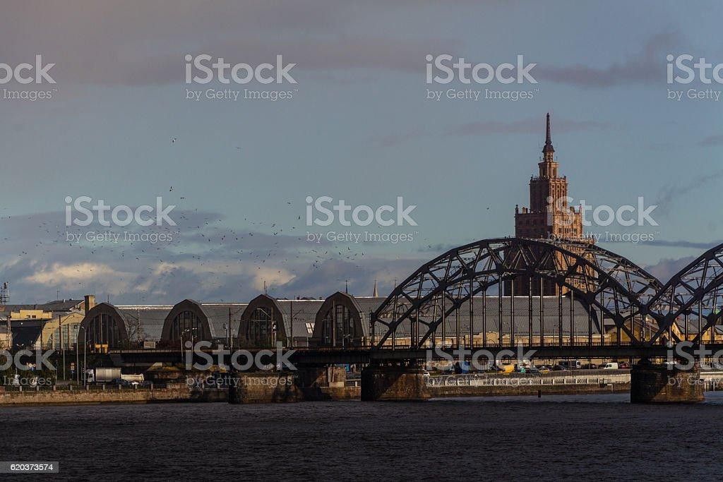 Academy of Sciences of Latvia and the Railway Bridge zbiór zdjęć royalty-free