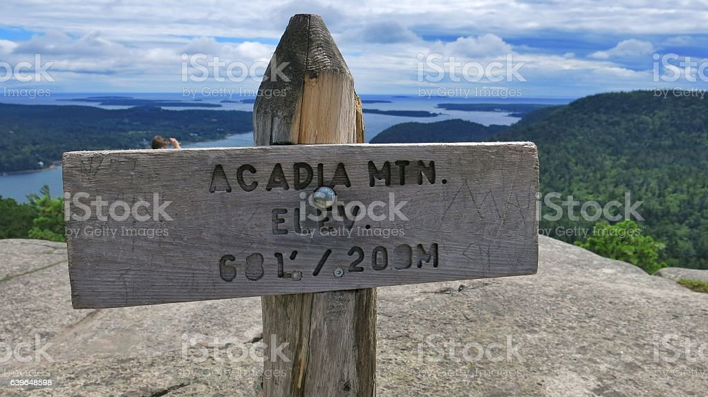 Acadia Mountain Summit Elevation Sign Post, National Park, Maine stock photo