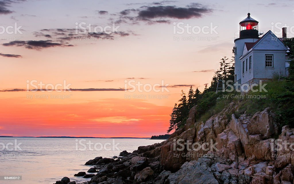Acadia National Park and Bass Harbor Lighthouse at sunset stock photo