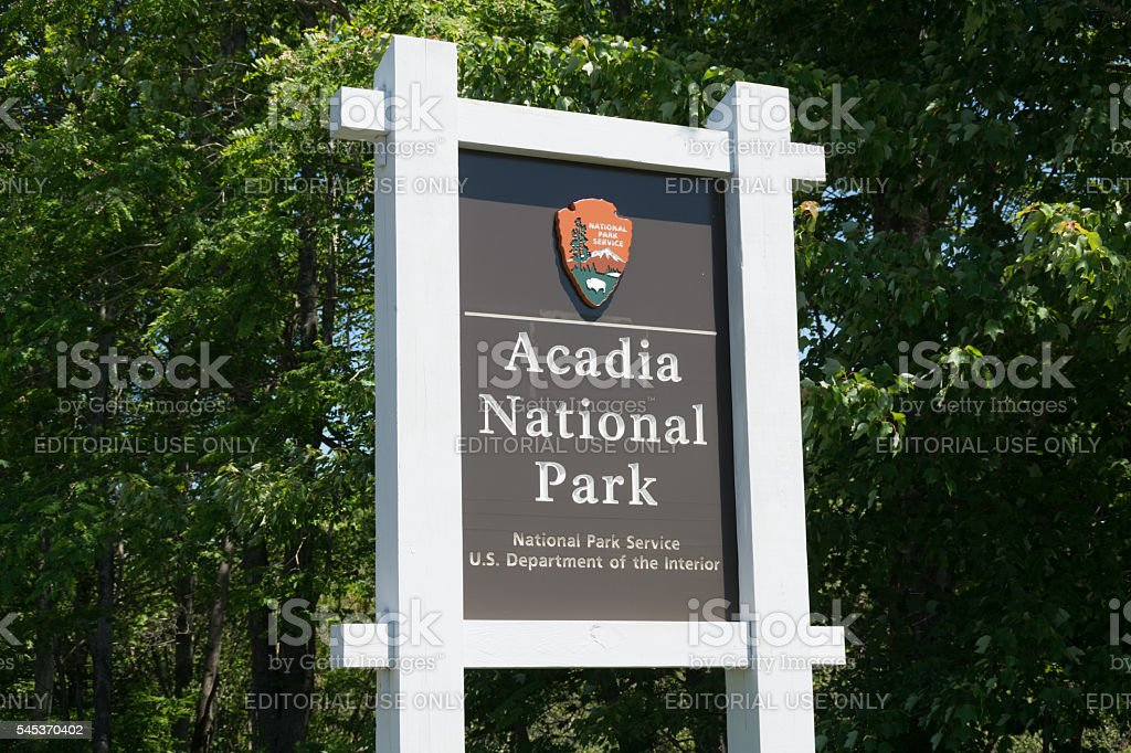Acadia National Park entrance sign stock photo