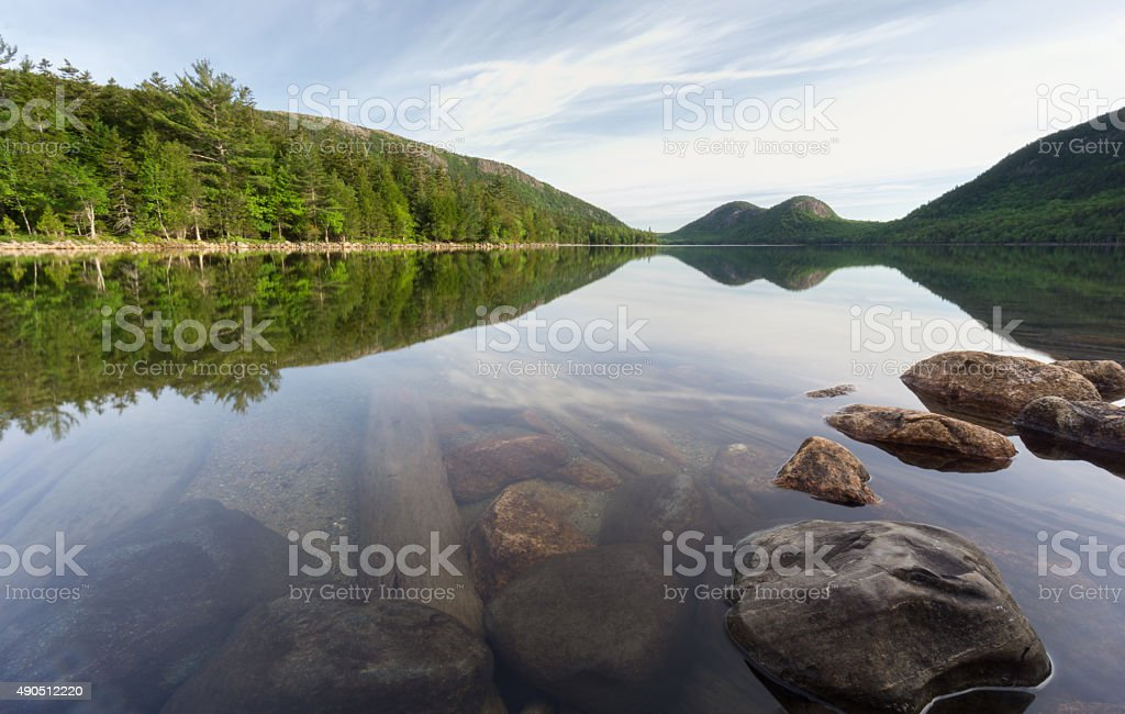 Acadia National Park Reflections at Jordon Pond stock photo