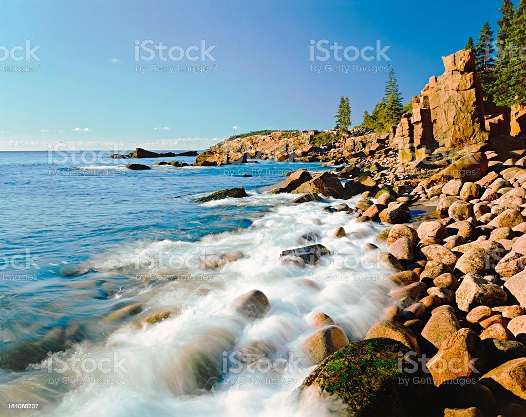 Acadia National Park's rocky Atlantic Ocean. (P) royalty-free stock photo