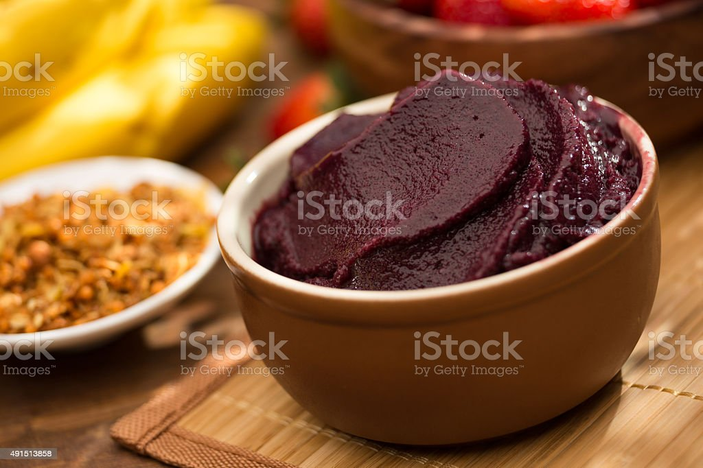 Acai in the bowl stock photo