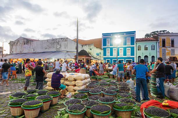 Acai Market in Belem City stock photo