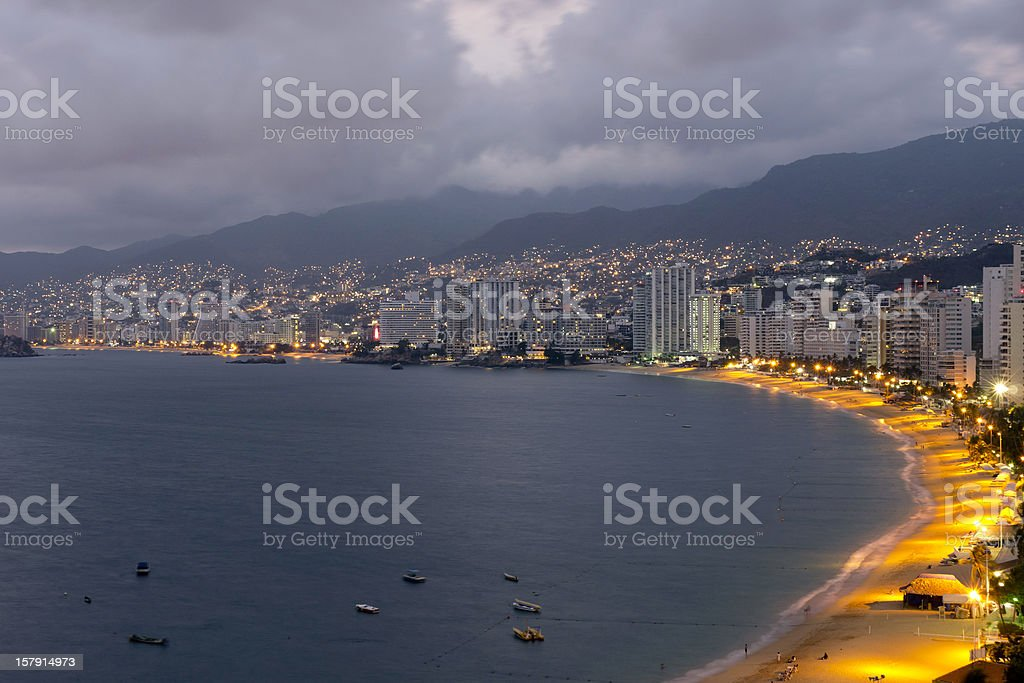 Acapulco Bay Night Long Exposure stock photo