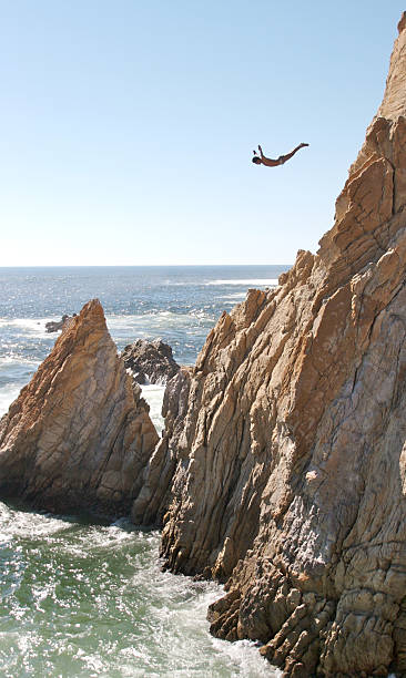 Acapulco Cliff Diver stock photo