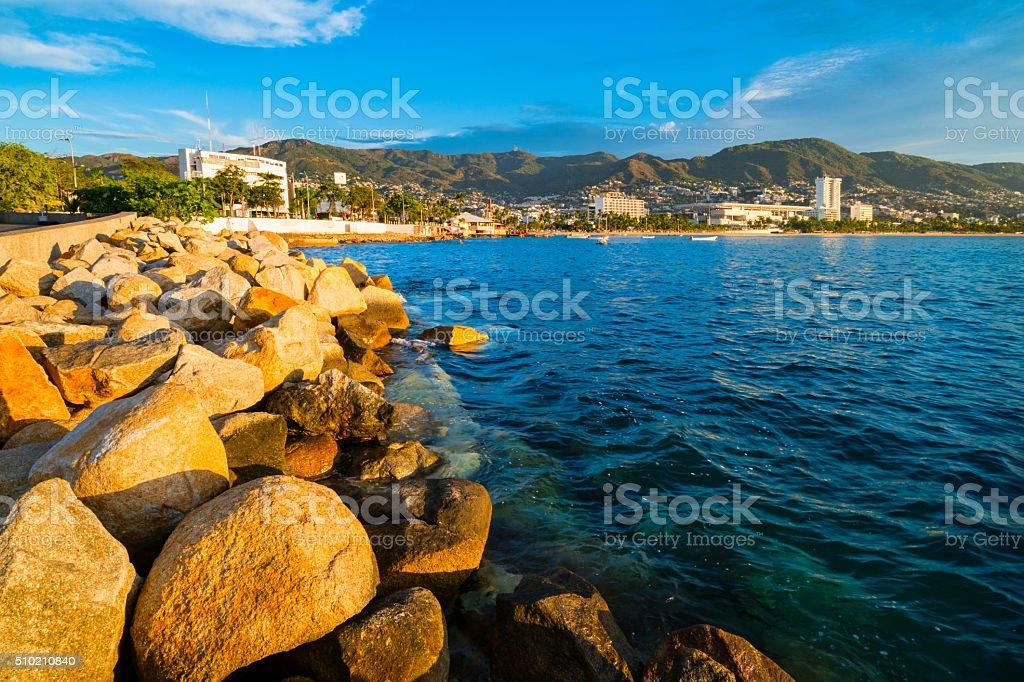 Acapulco la costa de México y a la bahía - foto de stock