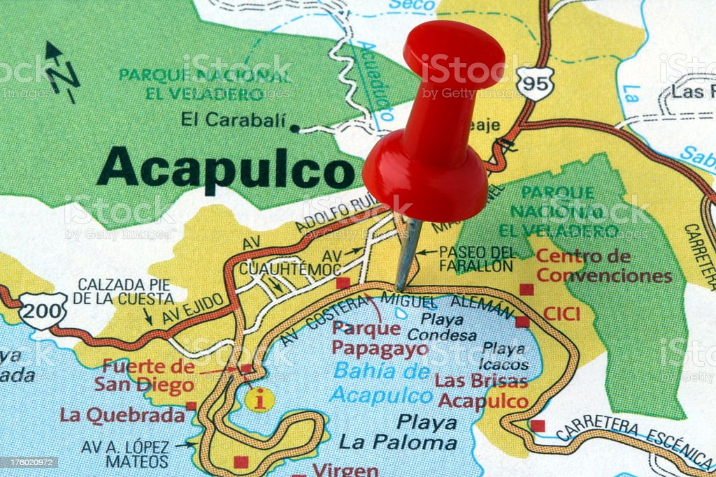 Acapulco Guerrero Mexico On A Map Stock Photo More Pictures of