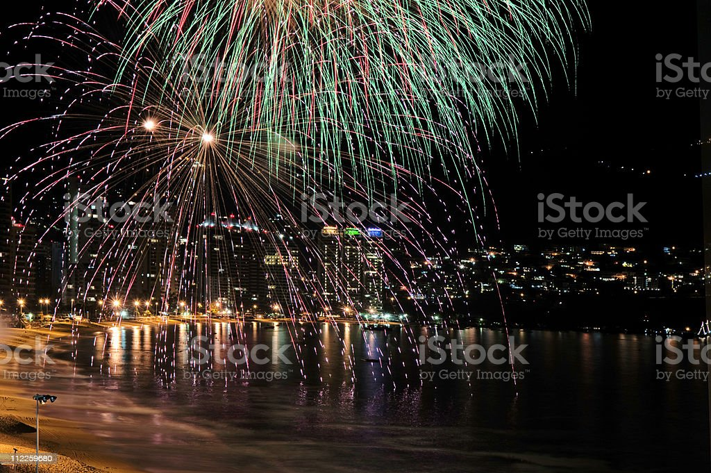 Acapulco Mexico fireworks stock photo
