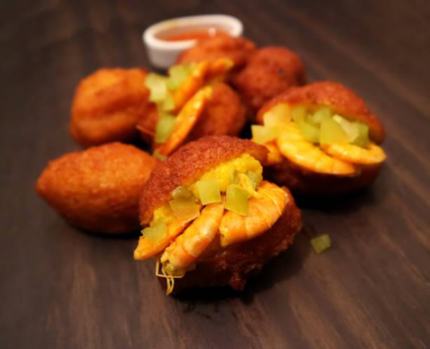 Acaraje traditional Brazilian street food of Bahia stock photo