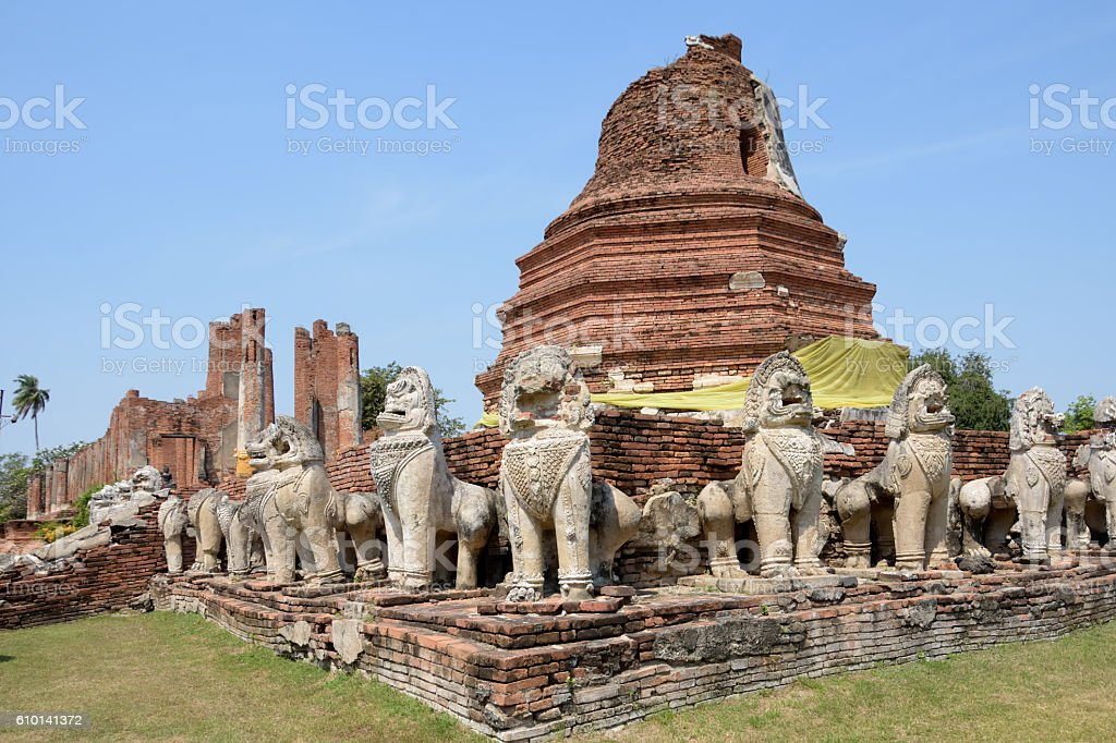 acceint pagoda and singha in historical worldheritage park stock photo