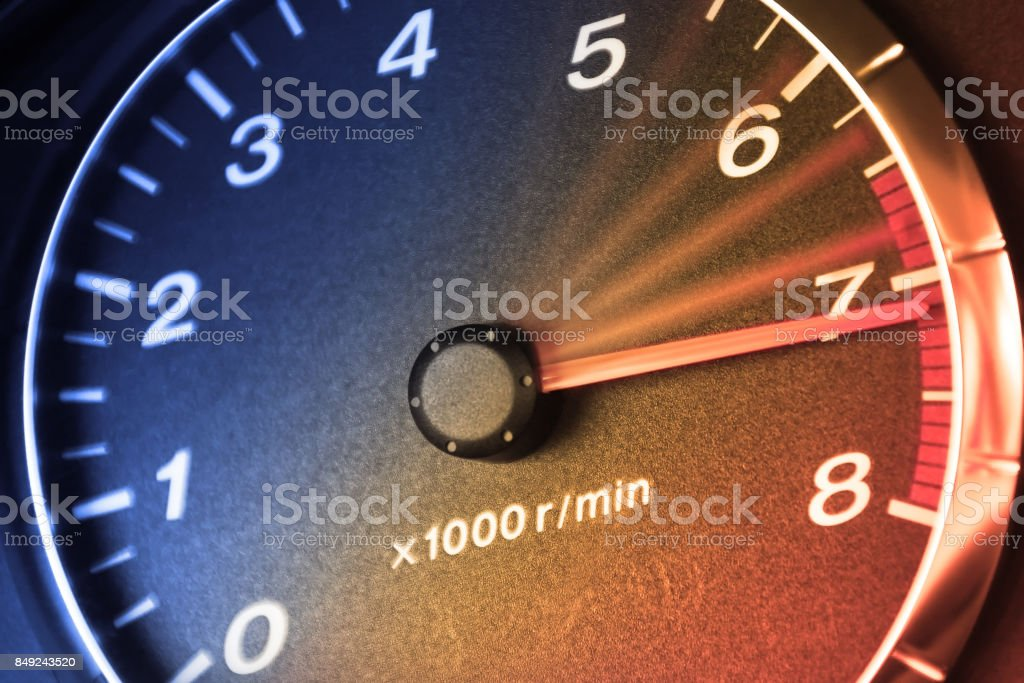 Accelerating Dashboar in car stock photo