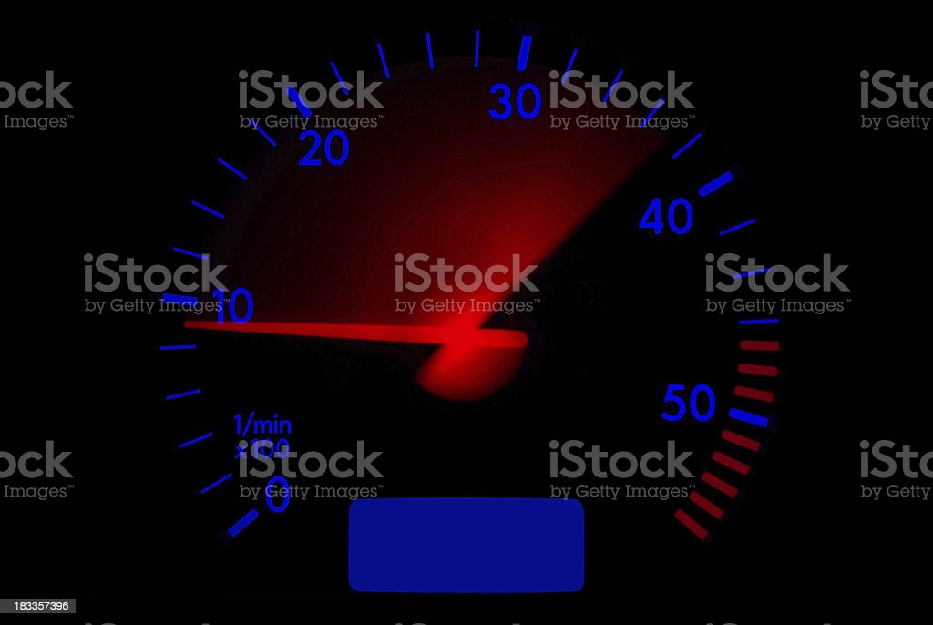 Accelerating tachometer stock photo