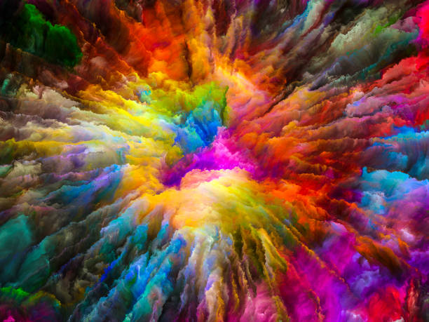 Acceleration of Virtual Canvas Color Explosion series. Arrangement of vibrant paint and rich texture on the subject of imagination, creativity and art saturated color stock pictures, royalty-free photos & images