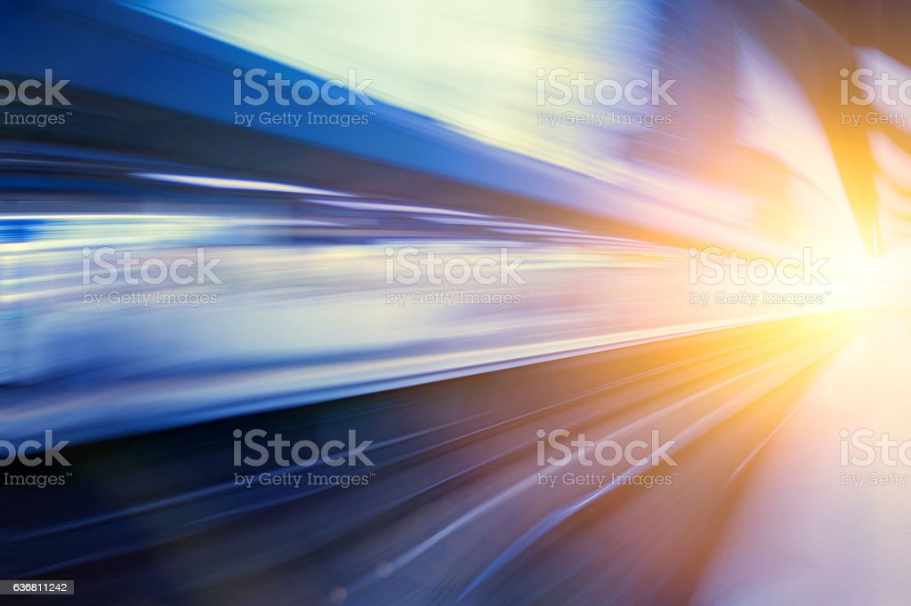Acceleration super fast speed motion of train station for backgr stock photo