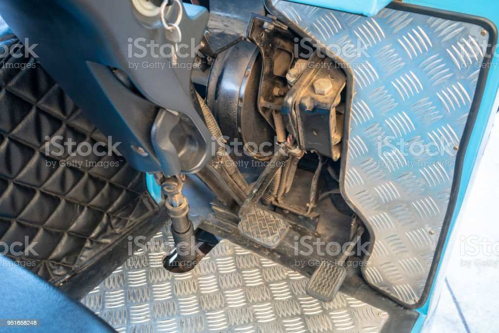Accelerator and break pedals of electrical shuttle bus. stock photo