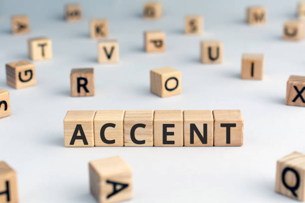 accent - word from wooden blocks with letters - diction stock pictures, royalty-free photos & images